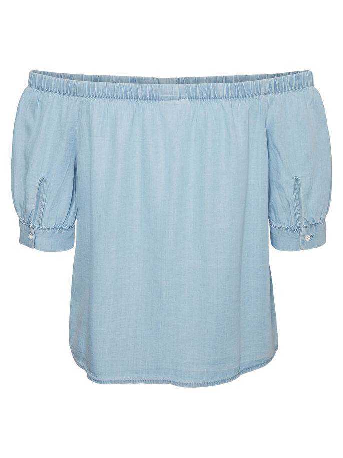 OFF-SHOULDER- HEMD, Light Blue Denim, large