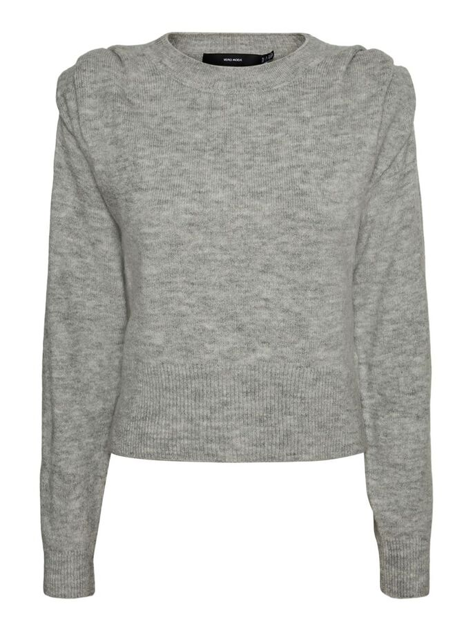 O-NECK KNITTED PULLOVER, Medium Grey Melange, large