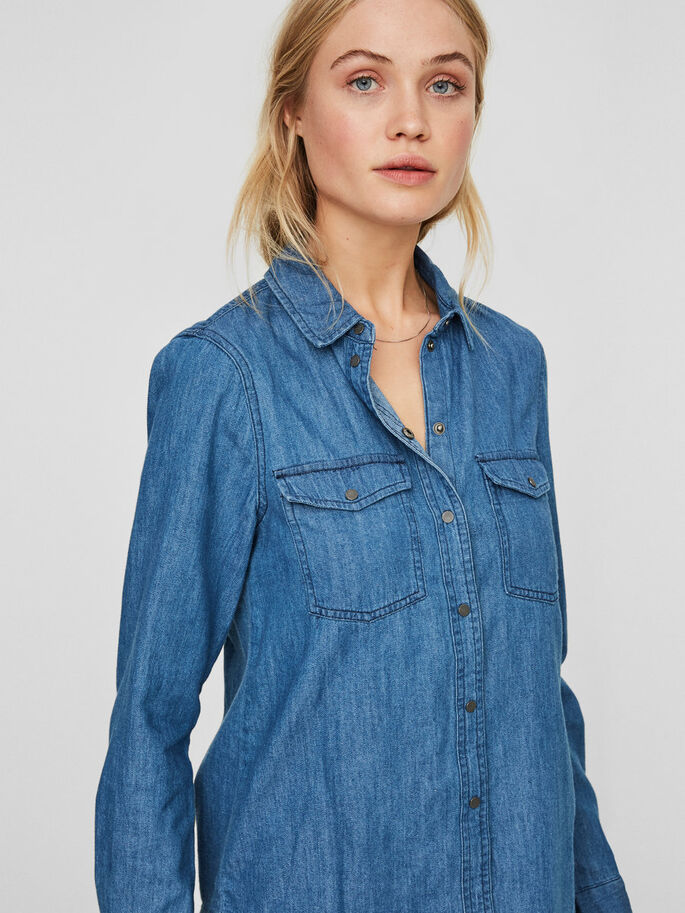 DENIM SHIRT, Medium Blue Denim, large