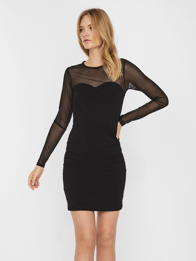 SHEER MINI DRESS, Black, large