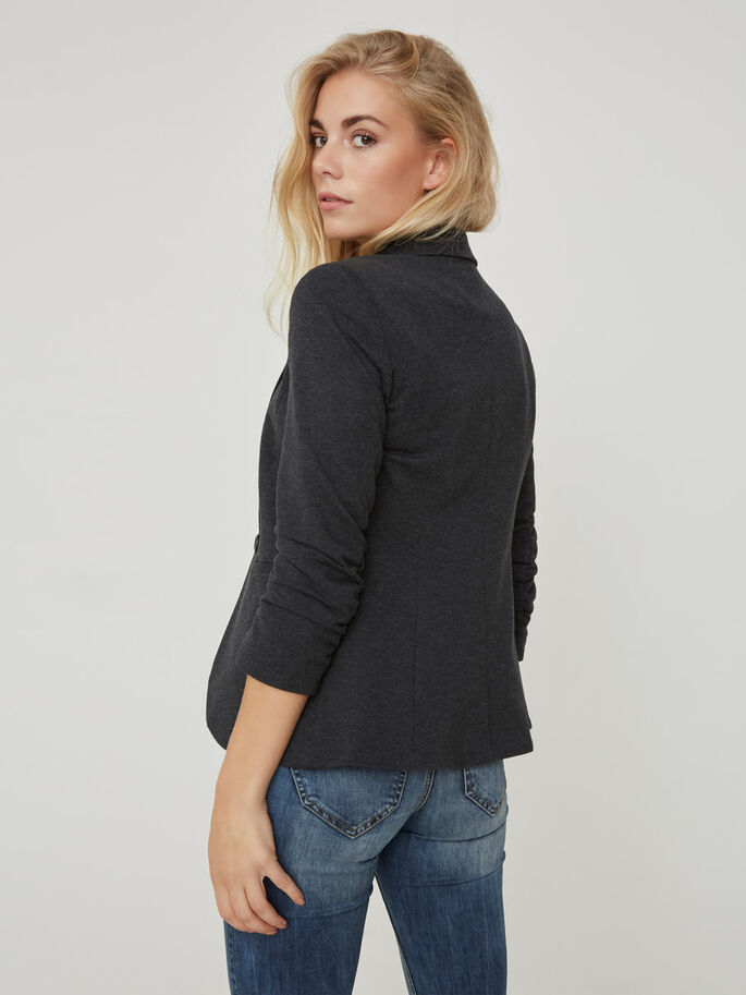 MANCHES 3/4 BLAZER, Dark Grey Melange, large