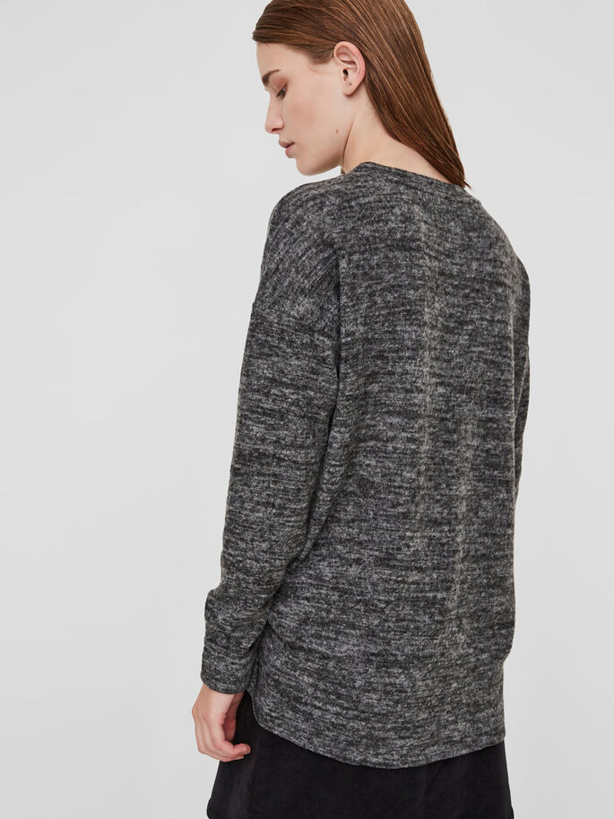 CASUAL KNITTED PULLOVER, Dark Grey Melange, large