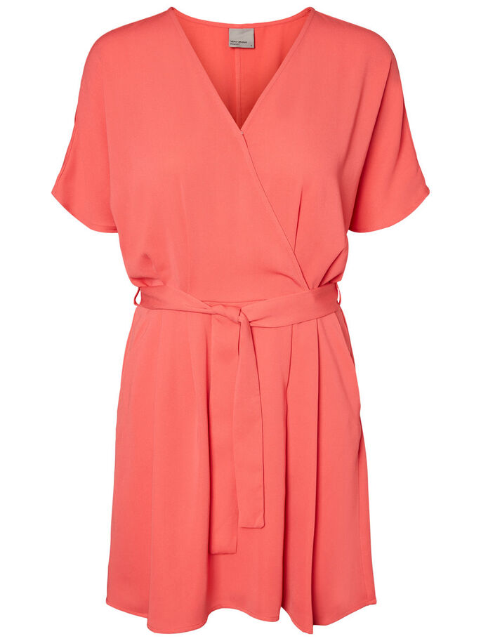 FEMININE SHORT SLEEVED DRESS, Hibiscus, large