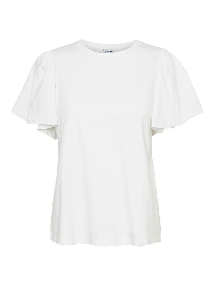O-NECK SHORT SLEEVED TOP, Snow White, large