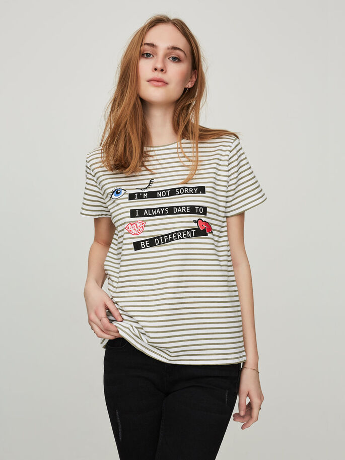PRINTED SHORT SLEEVED TOP, Bright White, large