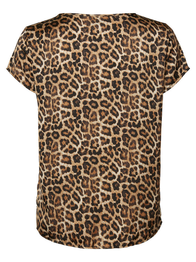 LUIPAARDPRINT TOP MET KORTE MOUWEN, Black, large