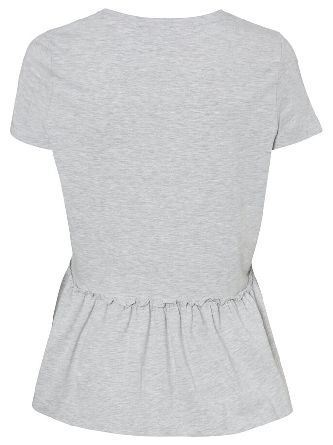 CASUAL SHORT SLEEVED TOP, Light Grey Melange, large