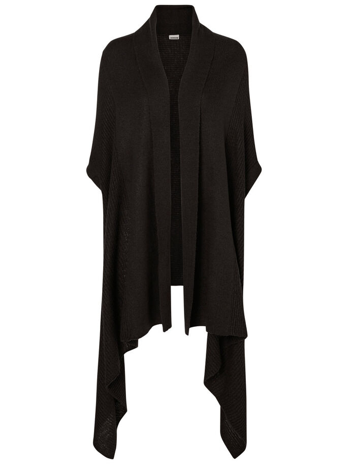 SHORT SLEEVED KNITTED CARDIGAN, Black, large