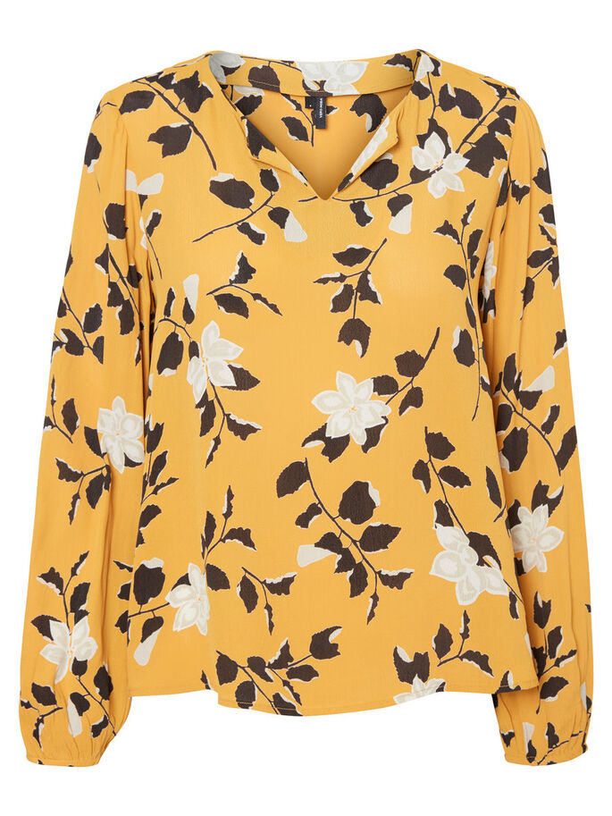 FLOWER LONG SLEEVED BLOUSE, Harvest Gold, large