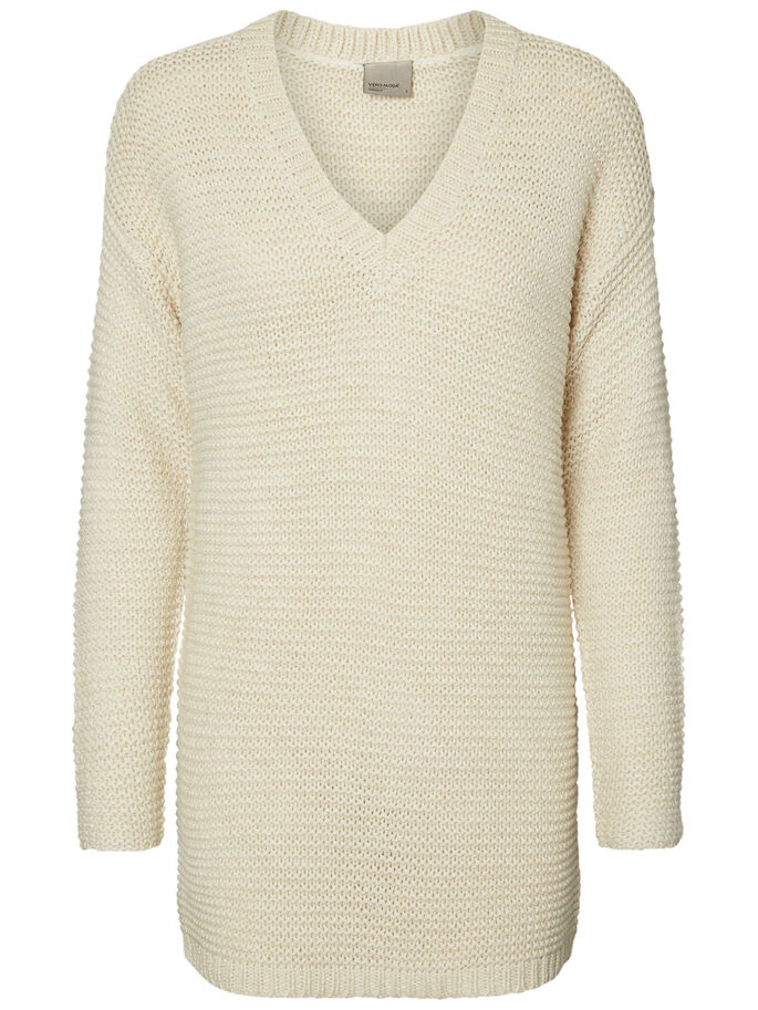 LONG KNITTED PULLOVER, Oatmeal, large