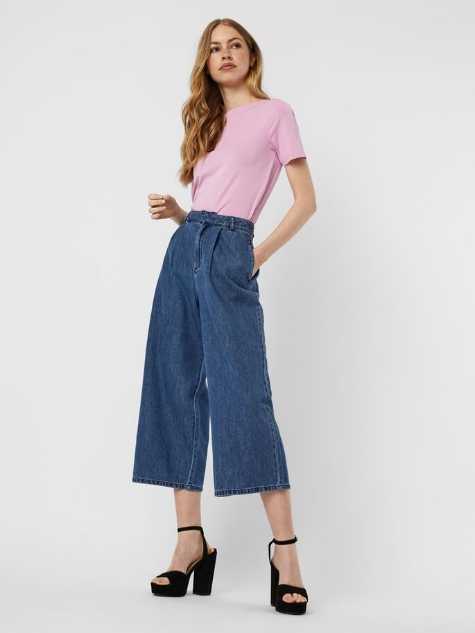 HIGH WAIST CULOTTE HOSE, Medium Blue Denim, large