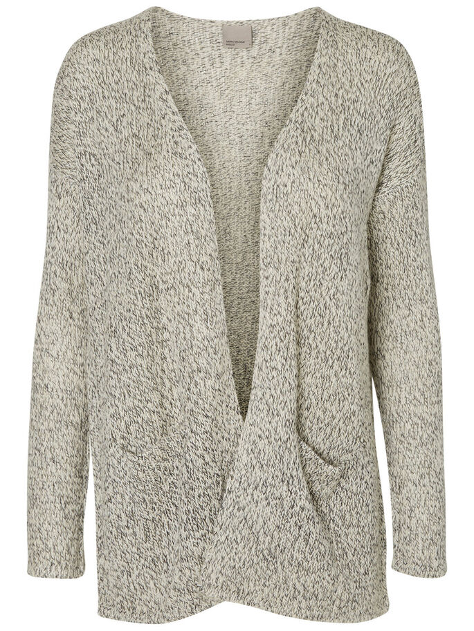 KNITTED CARDIGAN, Ash, large