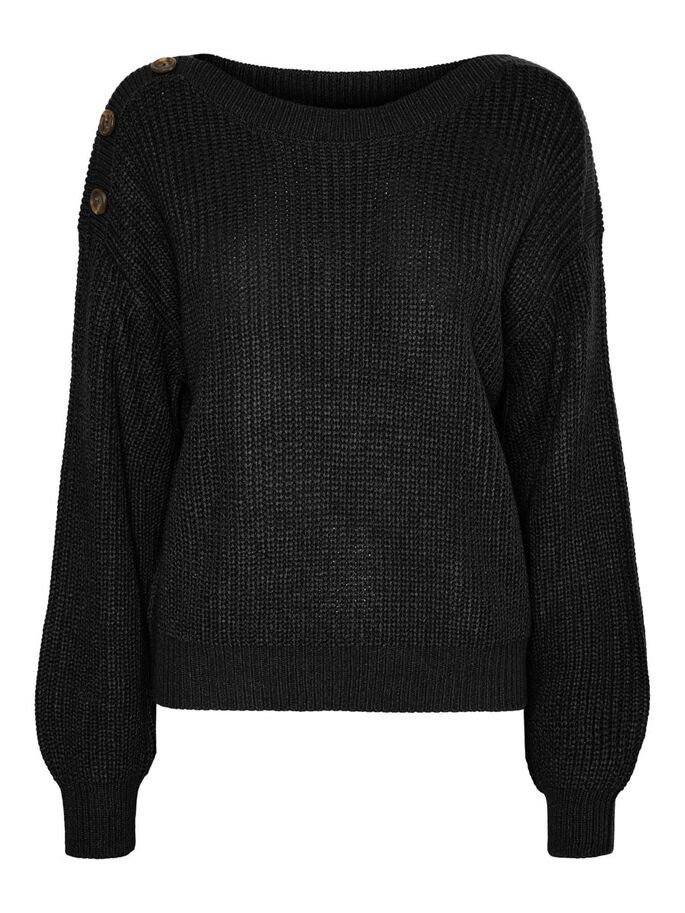 O-NECK KNITTED PULLOVER, Black, large