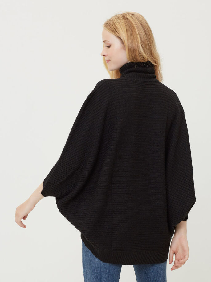 KNITTED PONCHO, Black, large