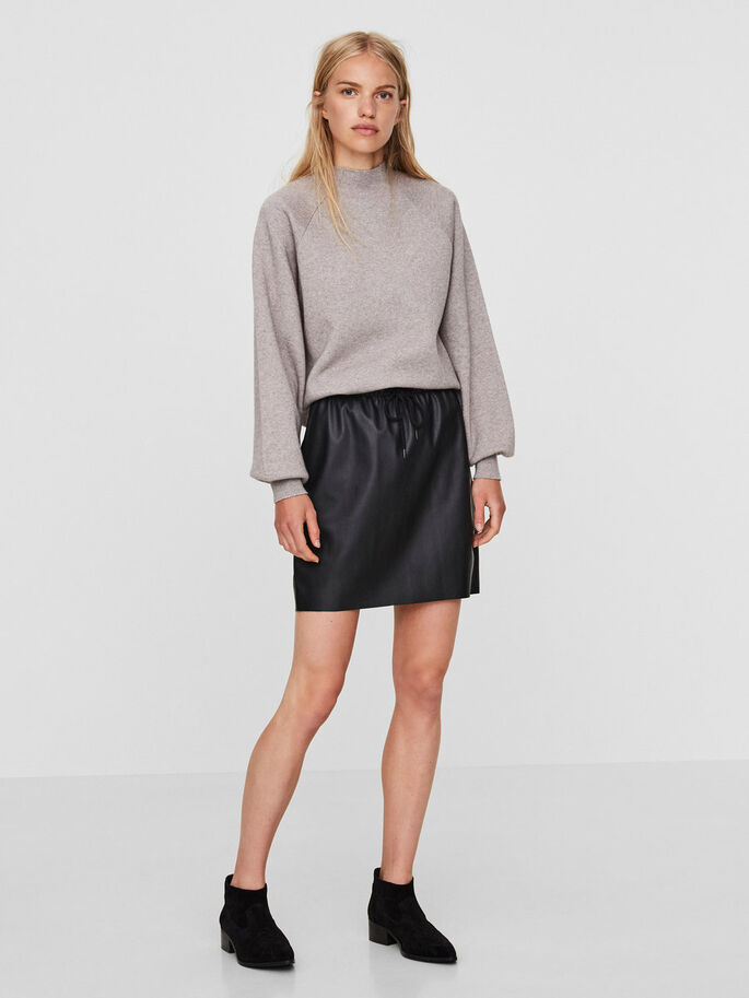HW LEATHER-LOOK SKIRT, Black, large