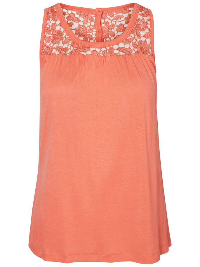 LACE SLEEVELESS TOP, Georgia Peach, large