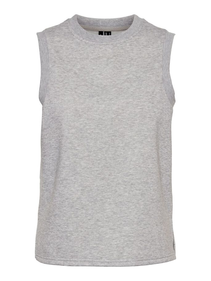 JERSEY VEST, Light Grey Melange, large