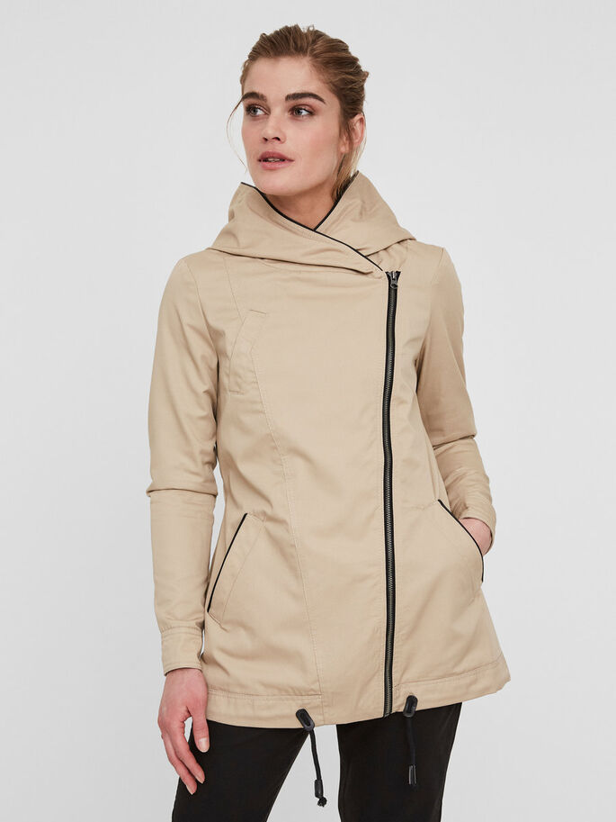 TRANSITIONAL PARKA COAT, Stocking Beige, large