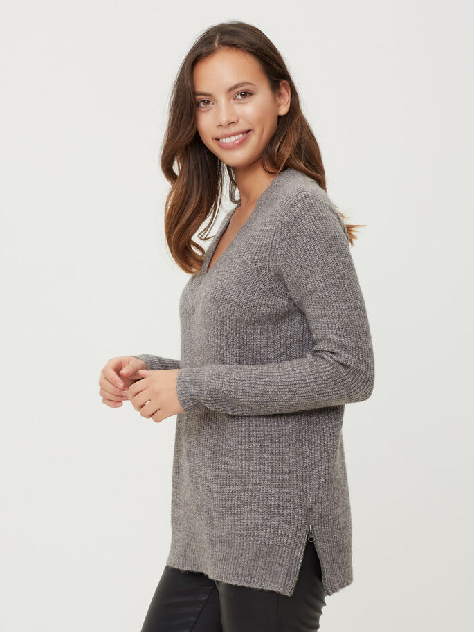 LANGE MOUWEN GEBREIDE TRUI, Medium Grey Melange, large
