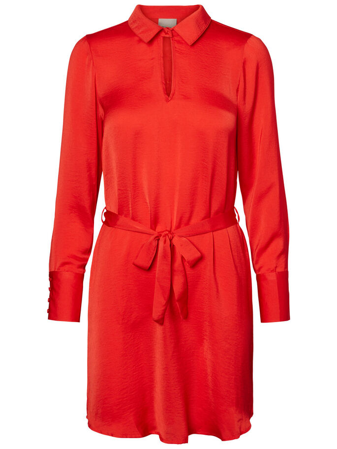 FÉMININE ROBE À MANCHES LONGUES, Racing Red, large