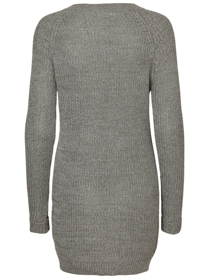 LONG SLEEVED KNITTED DRESS, Medium Grey Melange, large