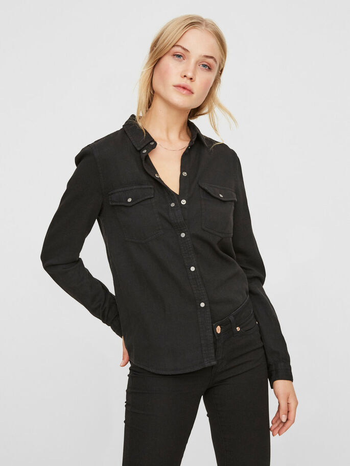 DENIM SHIRT, Black, large