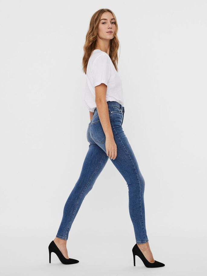 VMSOPHIA HIGH WAIST SKINNY FIT JEANS, Light Blue Denim, large