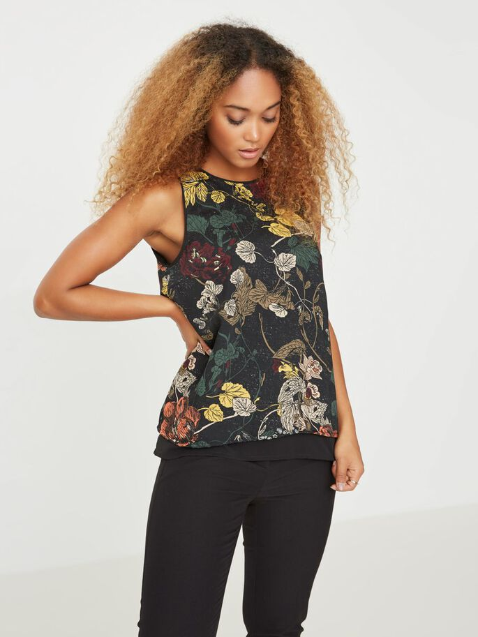 FLEUR TOP SANS MANCHES, Black, large