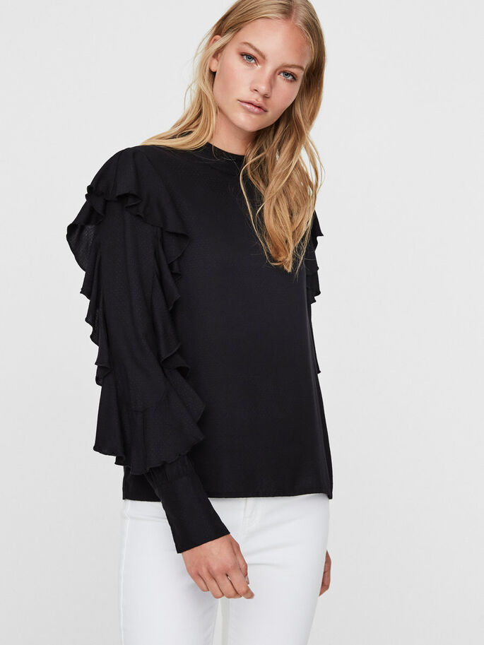RUCHE BLOUSE, Black, large