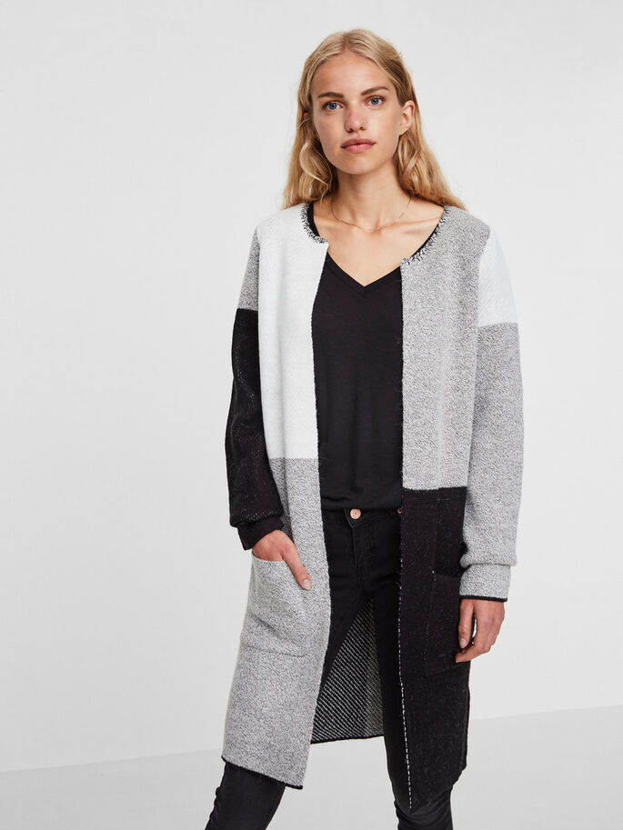 LÅNG STICKAD KOFTA, Light Grey Melange, large