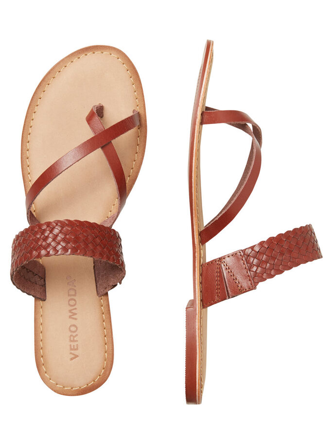 LEATHER SANDALS, Henna, large