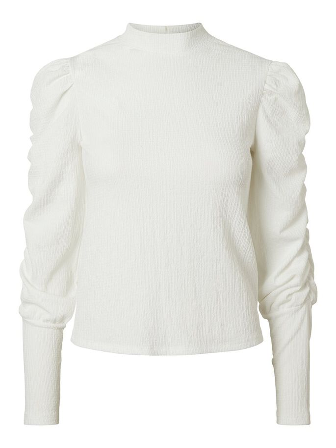 HIGH NECK LONG SLEEVED BLOUSE, Snow White, large