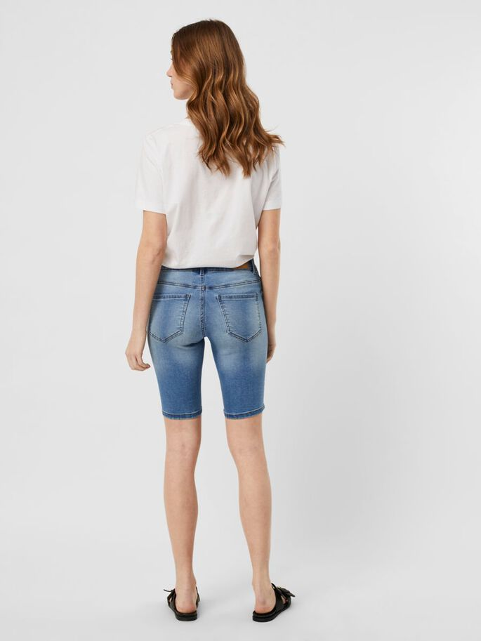BUTTON SHORTS, Light Blue Denim, large