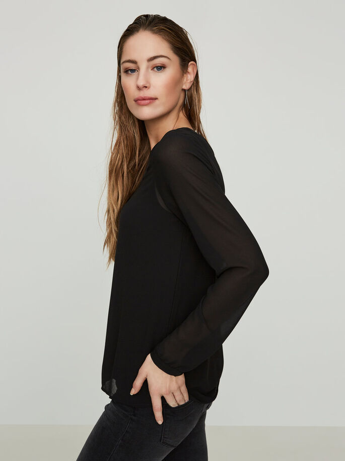 FEMININE LONG SLEEVED BLOUSE, Black, large