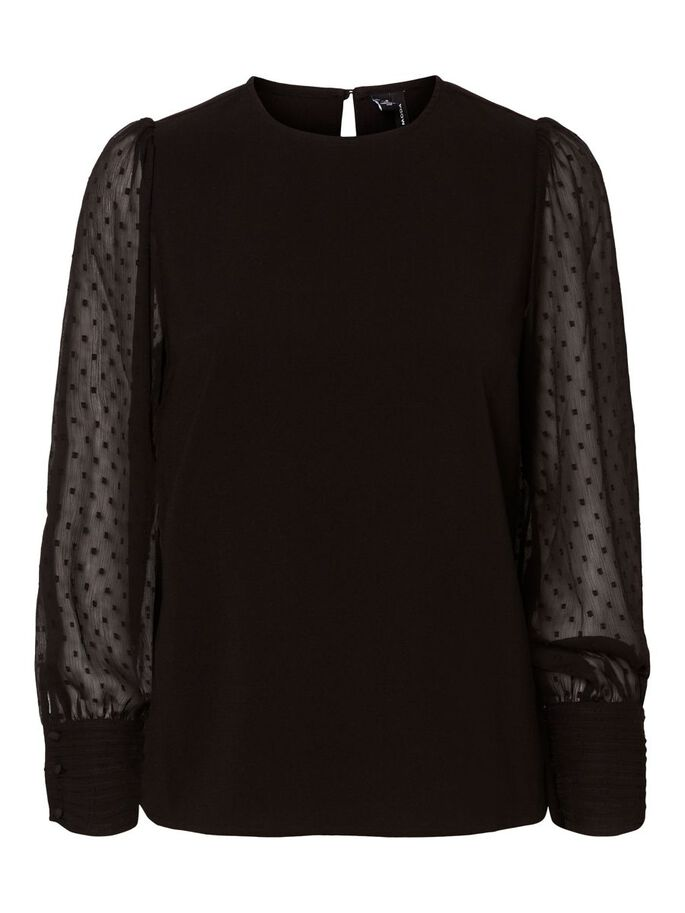SHEER DOTTED LONG SLEEVED BLOUSE, Black, large