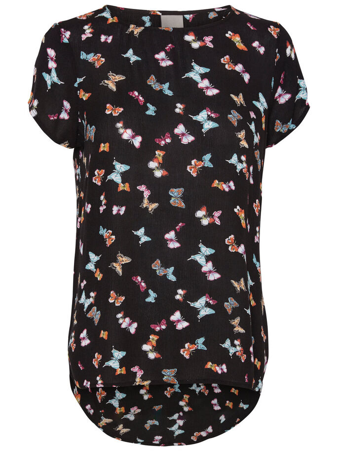 BUTTERFLY SHORT SLEEVED TOP, Black, large