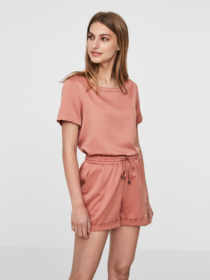 FEMININE SHORT SLEEVED TOP, Cedar Wood, large