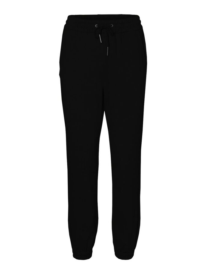 NORMAL WAIST LOOSE FIT TROUSERS, Black, large
