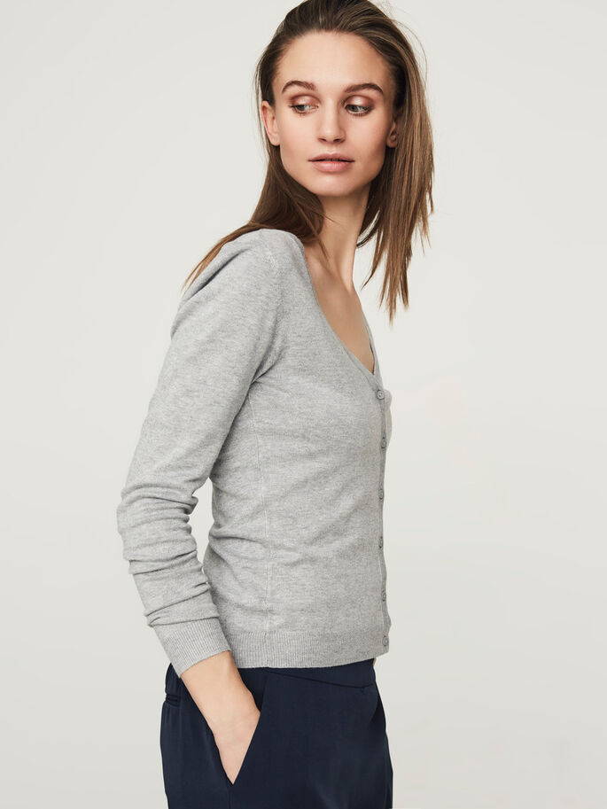 SCHLICHTER V-AUSSCHNITT STRICKJACKE, Light Grey Melange, large