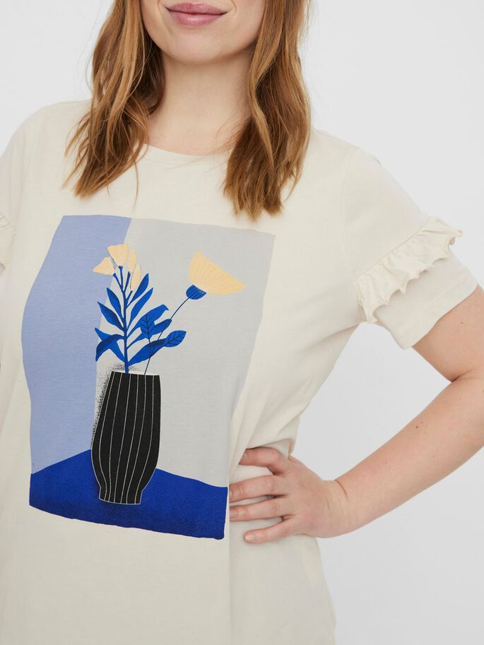 FRONT PRINTED T-SHIRT, Birch, large