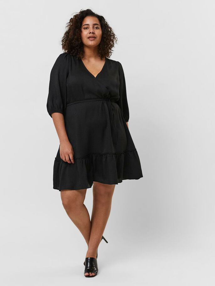 V-NECK MINI DRESS, Black, large