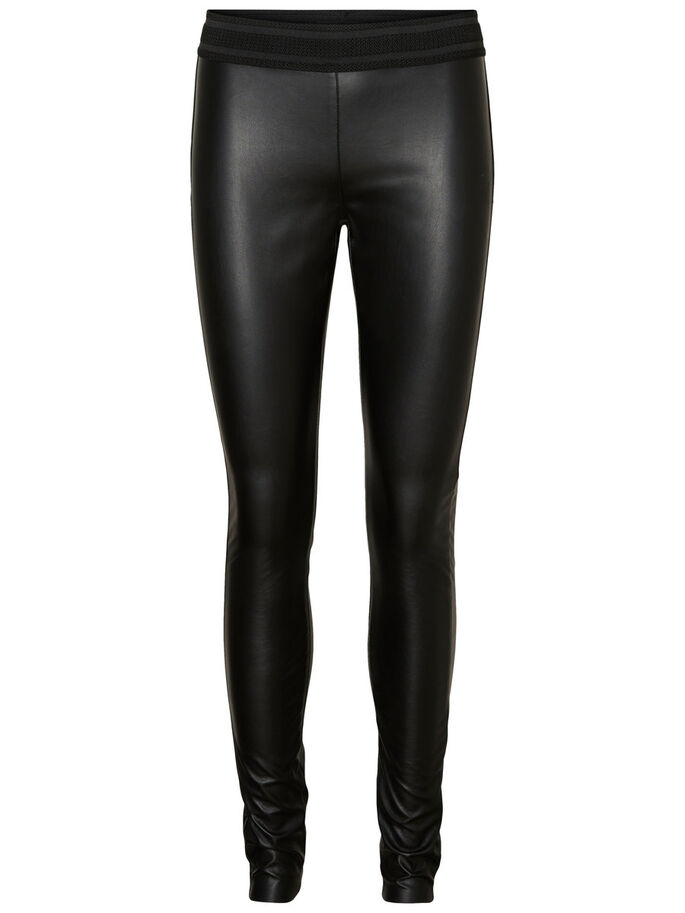 NW LEATHER-LOOK LEGGINGS, Black, large