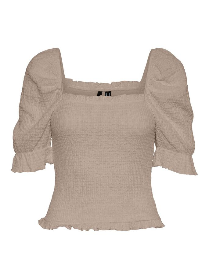 PUFF SHORT SLEEVED TOP, Simply Taupe, large