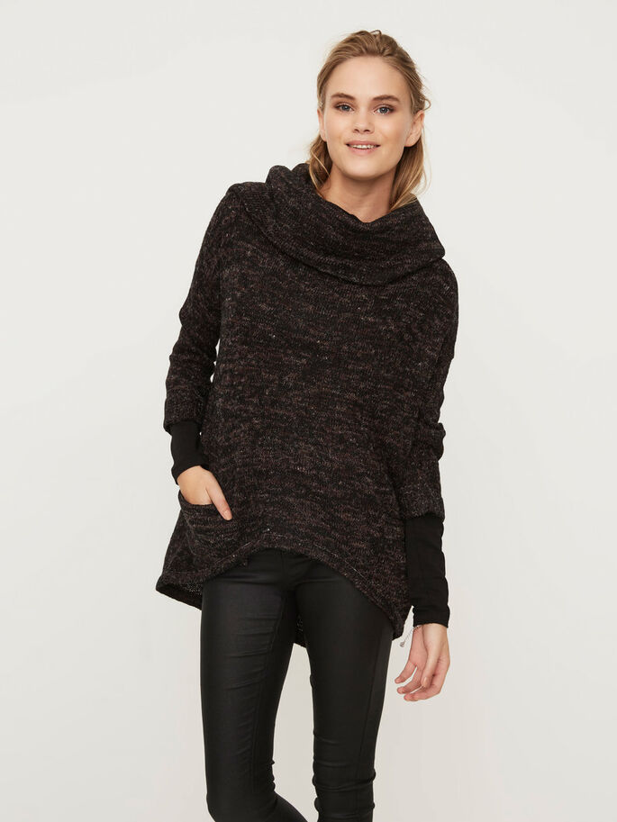 KNITTED TURTLENECK, Black, large