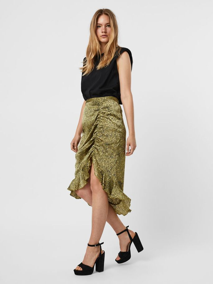 HIGH WAISTED SKIRT, Olive Drab, large