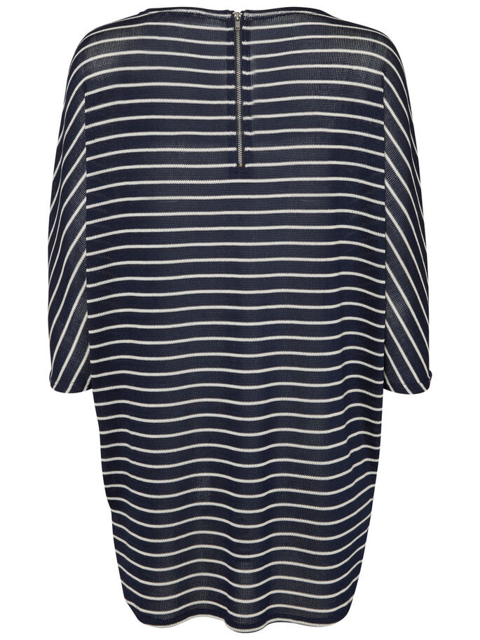 STRIPED 3/4 SLEEVED BLOUSE, Navy Blazer, large