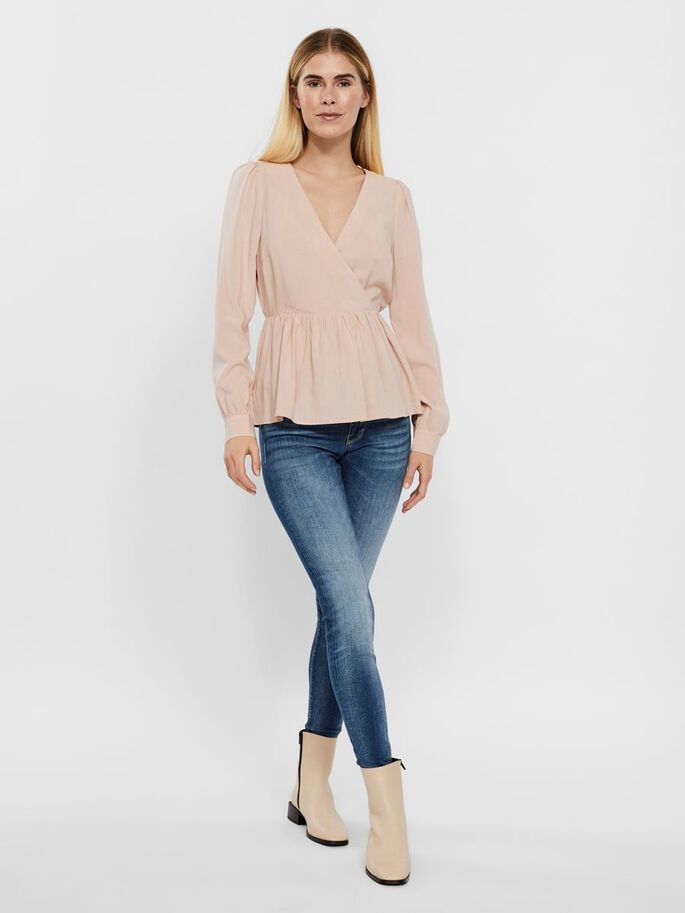 V-NECK BLOUSE, Rose Dust, large
