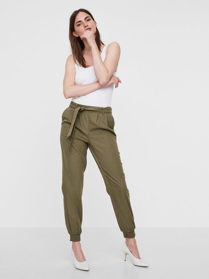 LINEN ANKLE TROUSERS, Ivy Green, large