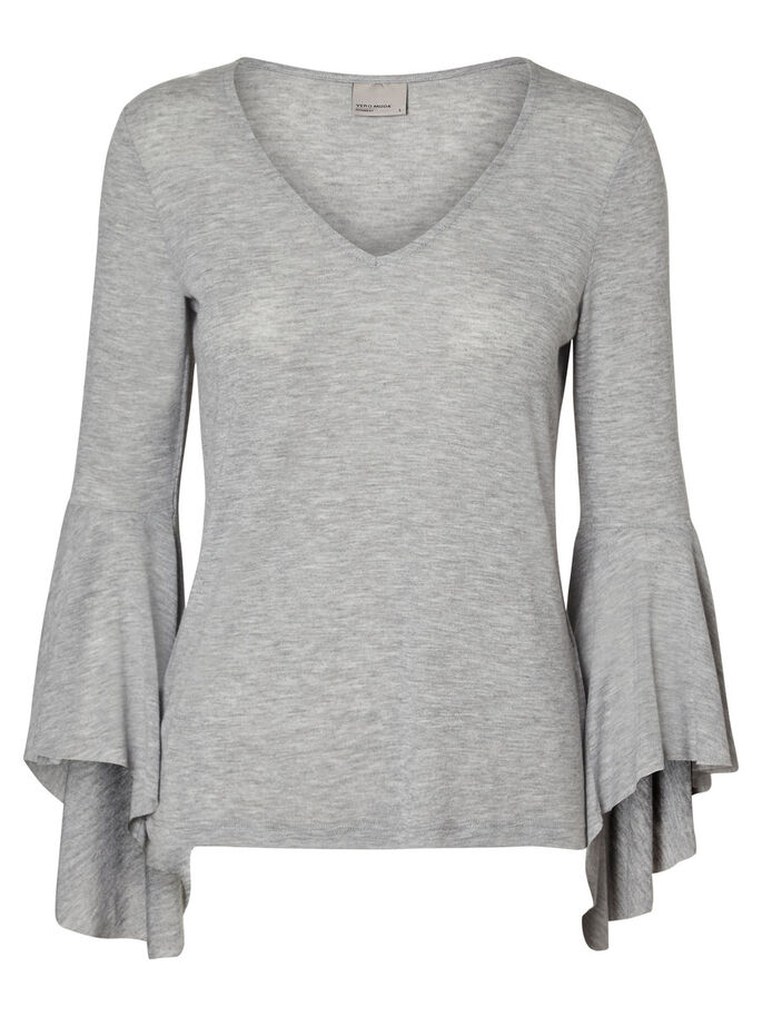 DETAILREICHE LANGARMBLUSE, Light Grey Melange, large