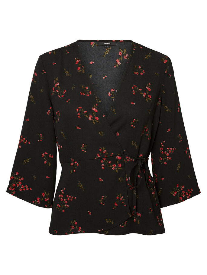 WRAP 3/4 SLEEVED BLOUSE, Black, large
